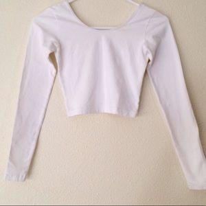 American apparel white long sleeves crop top